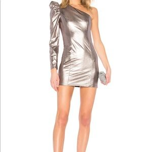 Lovers and friends metallic one shoulder dress NWT